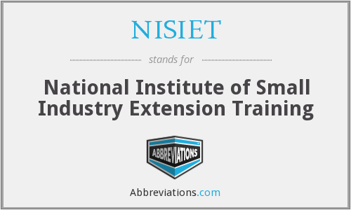 NISIET - National Institute of Small Industry Extension Training