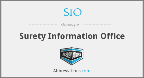 SIO - Surety Information Office