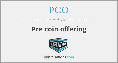 PCO - Pre coin offering