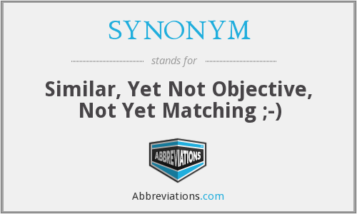 What does SYNONYM stand for?