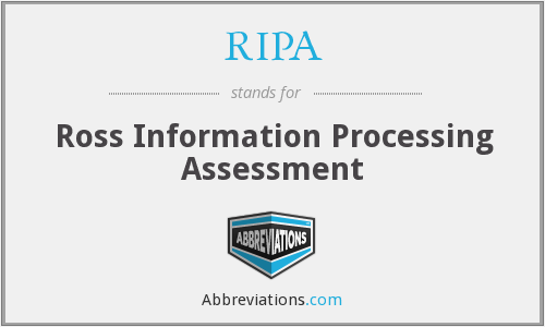 RIPA - Ross Information Processing Assessment