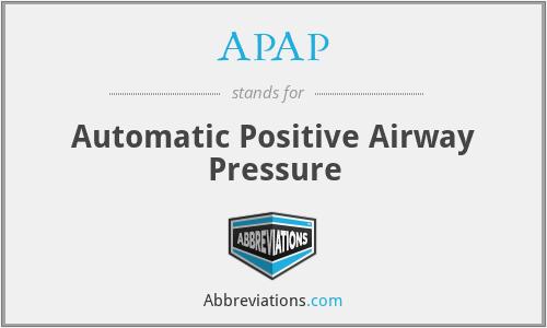 APAP - Automatic Positive Airway Pressure