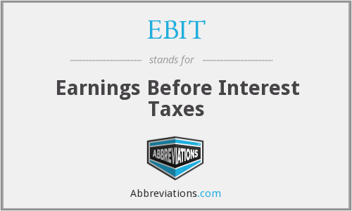 EBIT - Earnings Before Interest Taxes