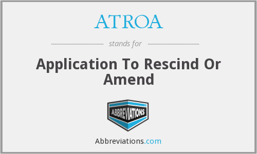 What does ATROA stand for?