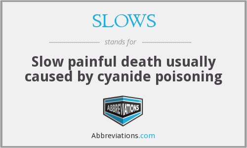 SLOWS - Slow painful death usually caused by cyanide poisoning