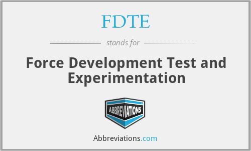 FDTE - Force Development Test and Experimentation
