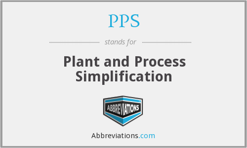 PPS - Plant and Process Simplification