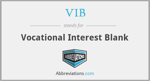 VIB - Vocational Interest Blank