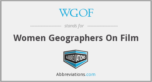 WGOF - Women Geographers On Film