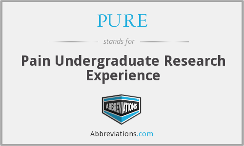 PURE - Pain Undergraduate Research Experience