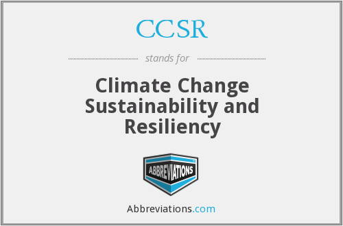 CCSR - Climate Change Sustainability and Resiliency