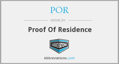POR - Proof Of Residence