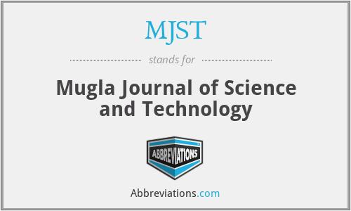MJST - Mugla Journal of Science and Technology