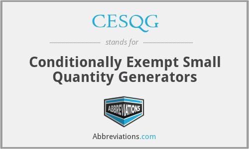 CESQG - Conditionally Exempt Small Quantity Generators