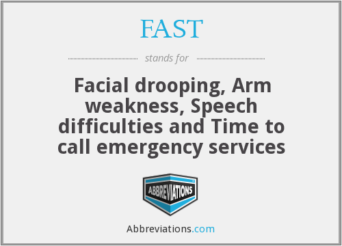 FAST - Facial drooping, Arm weakness, Speech difficulties and Time to call emergency services