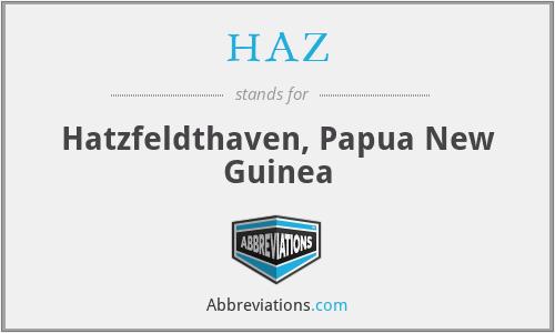 HAZ - Hatzfeldthaven, Papua New Guinea
