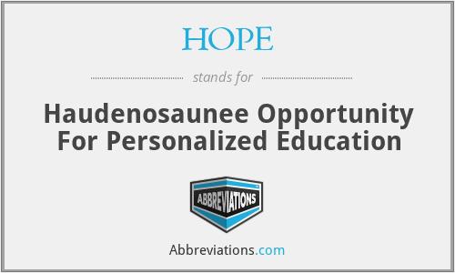 HOPE - Haudenosaunee Opportunity For Personalized Education