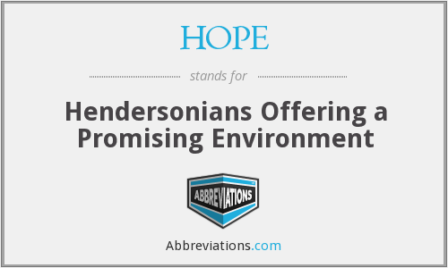 HOPE - Hendersonians Offering a Promising Environment