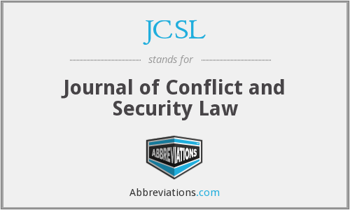 JCSL - Journal of Conflict and Security Law
