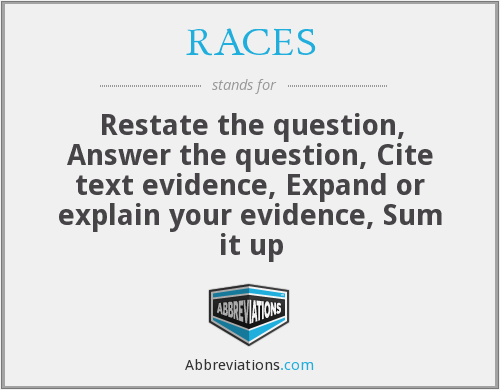 RACES - Restate the question, Answer the question, Cite text evidence, Expand or explain your evidence, Sum it up