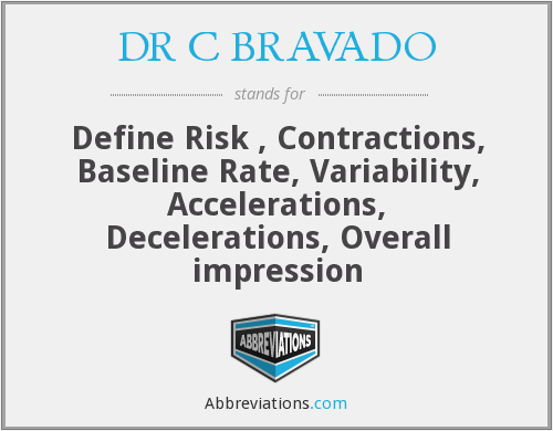 DR C BRAVADO - Define Risk , Contractions, Baseline Rate, Variability, Accelerations, Decelerations, Overall impression