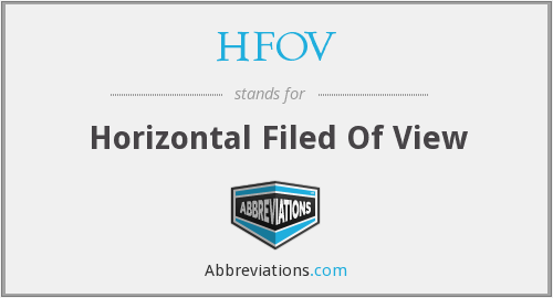 HFOV - Horizontal Filed Of View