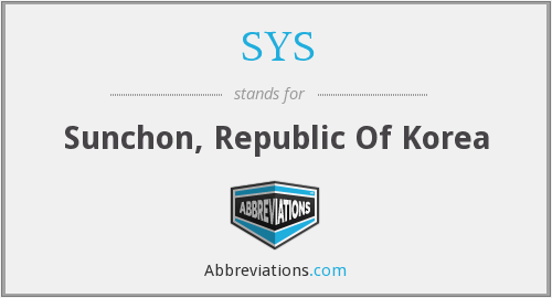 SYS - Sunchon, Republic Of Korea