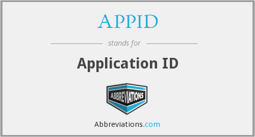 What does APPID stand for?