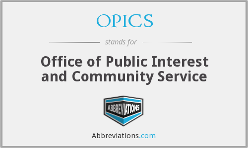 OPICS - Office of Public Interest and Community Service