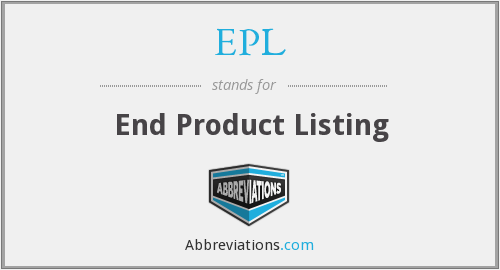 EPL - End Product Listing