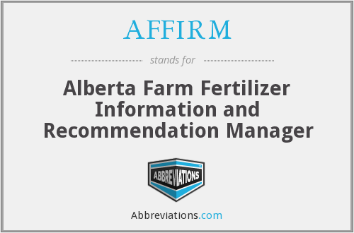 AFFIRM - Alberta Farm Fertilizer Information and Recommendation Manager
