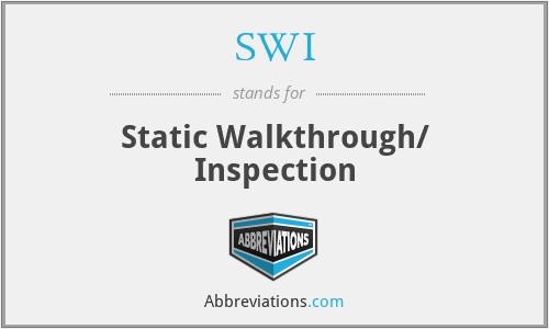 SWI - Static Walkthrough/ Inspection