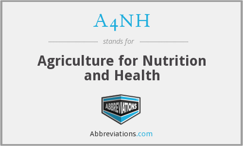 A4NH - Agriculture for Nutrition and Health