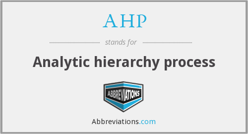 AHP - Analytic hierarchy process