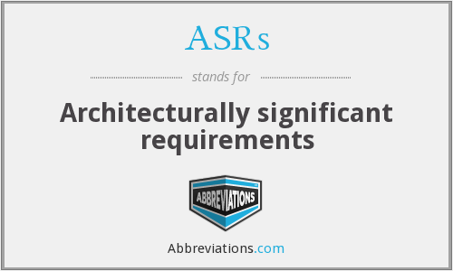 ASRs - Architecturally significant requirements