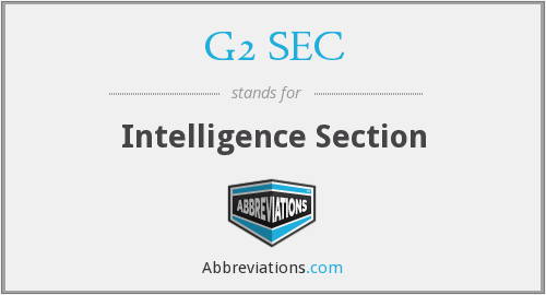 G2 SEC - Intelligence Section