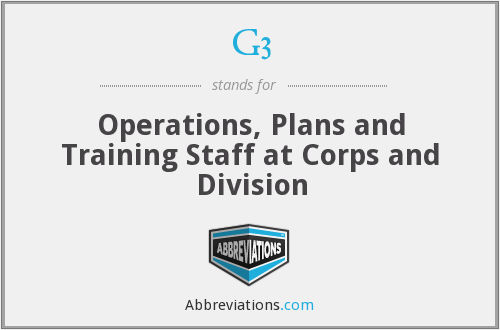 G3 - Operations, Plans and Training Staff at Corps and Division