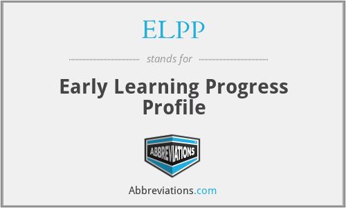 ELPP - Early Learning Progress Profile