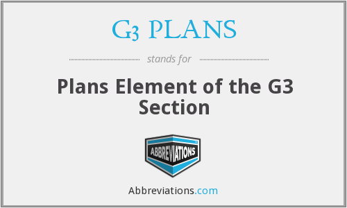 G3 PLANS - Plans Element of the G3 Section