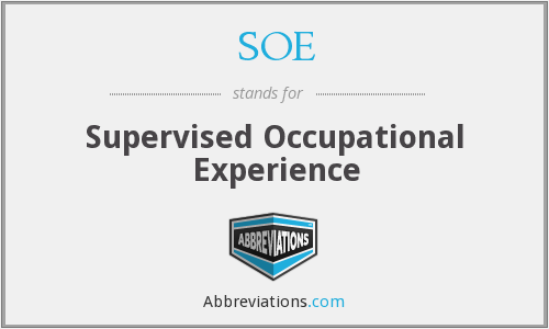 SOE - Supervised Occupational Experience