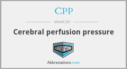 CPP - Cerebral perfusion pressure