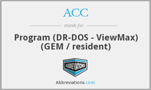 ACC - Program (DR-DOS - ViewMax) (GEM / resident)