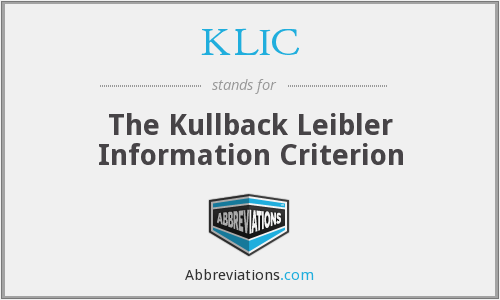 KLIC - The Kullback Leibler Information Criterion