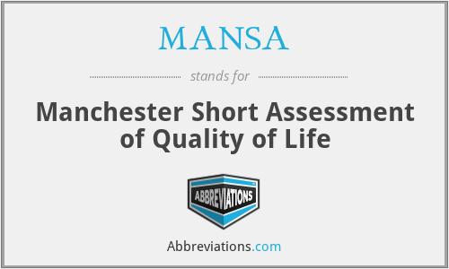 MANSA - Manchester Short Assessment of Quality of Life