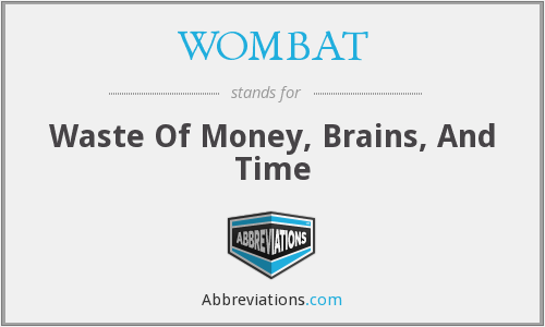 WOMBAT - Waste Of Money, Brains, And Time