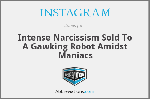 INSTAGRAM - Intense Narcissism Sold To A Gawking Robot Amidst Maniacs