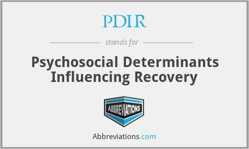 PDIR - Psychosocial Determinants Influencing Recovery