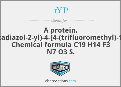 1YP - A protein. 1-ethyl-3-{5'-(5-oxo-4,5-dihydro-1,3,4-oxadiazol-2-yl)-4-[4-(trifluoromethyl)-1,3-thiazol-2-yl]-3,3'-bipyridin-6-yl}urea. Chemical formula C19 H14 F3 N7 O3 S.