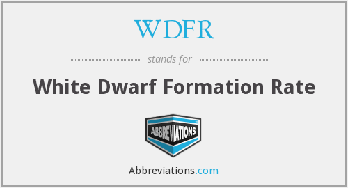 WDFR - White Dwarf Formation Rate