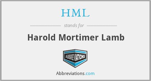 HML - Harold Mortimer Lamb